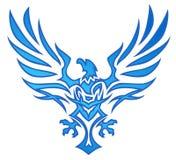蓝色老鹰火焰纹身花刺 免版税库存图片