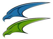 蓝色老鹰绿色徽标 皇族释放例证