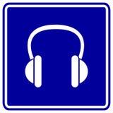 蓝色耳机签署向量 免版税库存照片