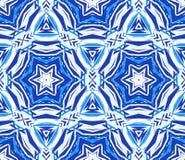 蓝色背景万花筒特征模式 库存图片
