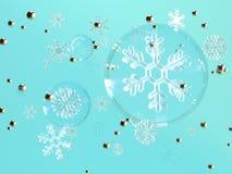 蓝色背景明白球形雪花升空3d翻译 皇族释放例证