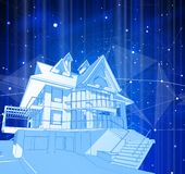 蓝色背景的一个现代房子 库存例证