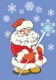 蓝色背景的圣诞老人 库存照片