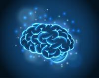 蓝色背景的脑子概念 免版税库存照片