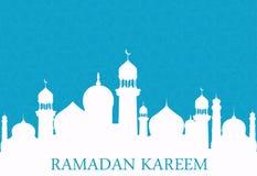 蓝色背景的阿拉伯白色清真寺 ramadan的kareem 向量例证