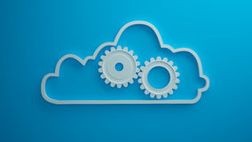 蓝色背景的3d云彩机械工回报 库存图片