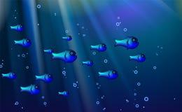 蓝色背景鱼浅滩 动画片滑稽的伪善言辞海洋生物优选从用于横幅设计,a的这个例证 皇族释放例证