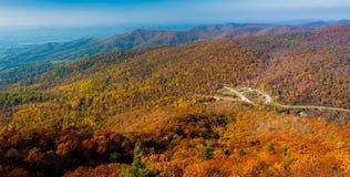 蓝色背脊山的秋天视图从玛丽的岩石的,在Shenandoah国家公园,弗吉尼亚。 免版税图库摄影