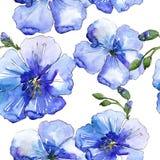 蓝色胡麻花 花卉植物的花 无缝的背景模式 免版税库存照片