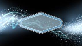 蓝色能量波浪流程和微粒动画与平的焕发固体 库存例证