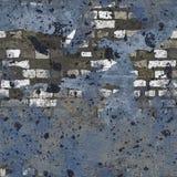 蓝色脏的被绘的砖墙无缝的背景 库存照片