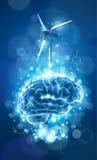蓝色脑子、风力发电器&化学式 库存图片