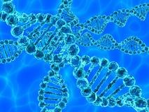 蓝色脱氧核糖核酸(脱氧核糖核酸)与在背景的波浪 库存图片