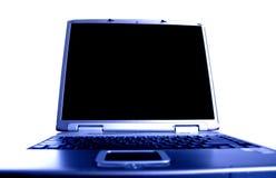 蓝色膝上型计算机口气 库存照片