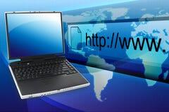 蓝色膝上型计算机和URL 免版税图库摄影