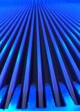 蓝色自动扶梯宏指令 免版税库存照片