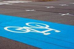 蓝色自行车运输路线 免版税库存照片