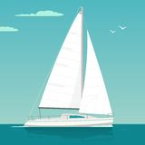 蓝色航行海运游艇 风船 传染媒介游艇俱乐部的得出的平的例证 向量例证