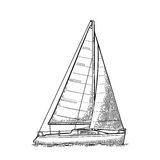 蓝色航行海运游艇 风船 传染媒介游艇俱乐部的得出的平的例证 库存例证