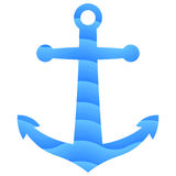 蓝色船锚 库存图片