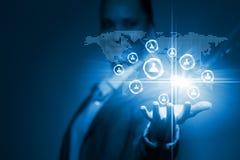 蓝色色的概念网络网络连接用管道输送天空 库存照片