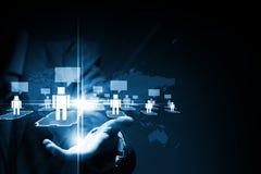 蓝色色的概念网络网络连接用管道输送天空 库存图片