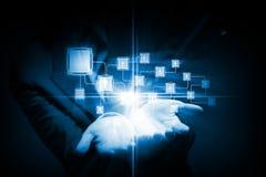 蓝色色的概念网络网络连接用管道输送天空 图库摄影