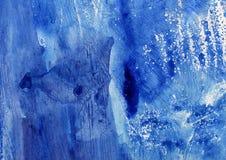 蓝色艺术性的摘要绘了纹理,难看的东西绘画,装饰蓝色绘画,任意刷子冲程 免版税图库摄影