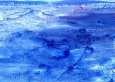蓝色艺术性的摘要绘了纹理,难看的东西绘画,装饰蓝色绘画,任意刷子冲程 免版税库存照片
