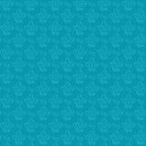 蓝色花剪影无缝的模式 免版税库存图片