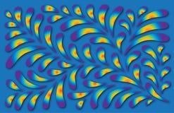 蓝色花卉叶子模式彩虹 免版税库存照片