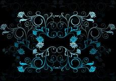 蓝色花卉墙纸 库存照片