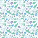 蓝色花卉无缝的样式传染媒介设计 免版税库存照片