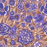 蓝色花卉模式 免版税库存图片