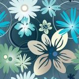 蓝色花卉模式 免版税库存照片
