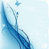 蓝色花卉grunge 免版税库存照片