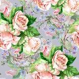 蓝色花和玫瑰,水彩 免版税库存照片