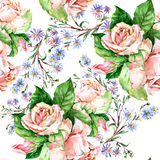 蓝色花和玫瑰,水彩 库存图片