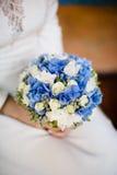 蓝色花束婚礼 免版税库存图片