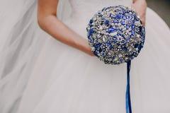 蓝色花束婚礼 免版税库存照片