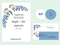蓝色花束花手拉的水彩绘画婚礼邀请套卡片 也corel凹道例证向量 库存照片