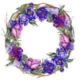 蓝色花束花 花卉植物的花 框架边界装饰品正方形 库存图片