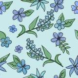 蓝色花的样式与一个黑概述的 免版税库存图片