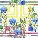 蓝色花的装饰品 花卉植物的花 无缝的背景模式 库存图片
