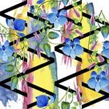 蓝色花的装饰品 花卉植物的花 无缝的背景模式 免版税库存图片
