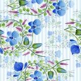 蓝色花的装饰品 花卉植物的花 无缝的背景模式 免版税图库摄影