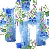 蓝色花的装饰品 花卉植物的花 无缝的背景模式 库存照片