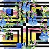 蓝色花的装饰品 花卉植物的花 无缝的背景模式 免版税库存照片