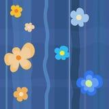 蓝色花纹花样 库存图片