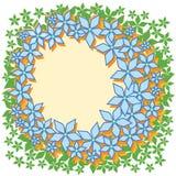 蓝色花花圈框架,绿色叶子 库存照片